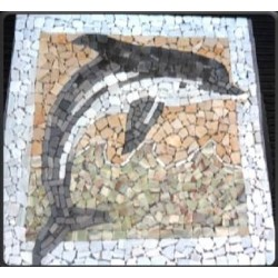 Tapete de Marmol y Onix Delfín blanco